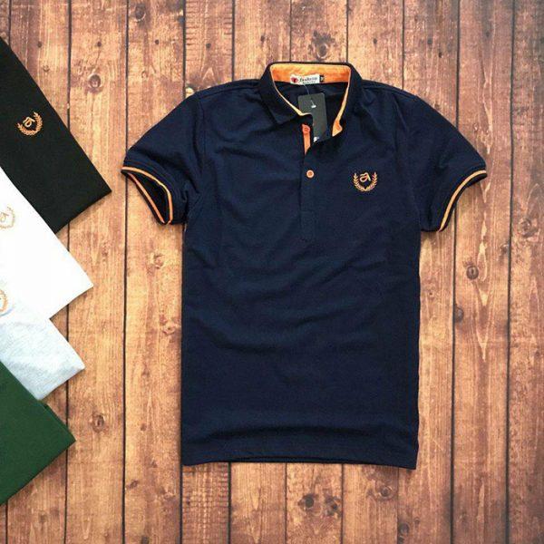 Sỉ sll áo thun nam trung niên viền cam với biểu tượng bông lúa đen