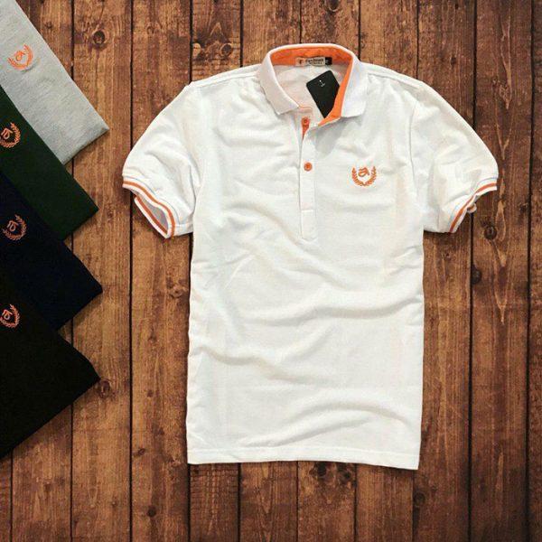 Sỉ sll áo thun nam trung niên viền cam với biểu tượng bông lúa trắng