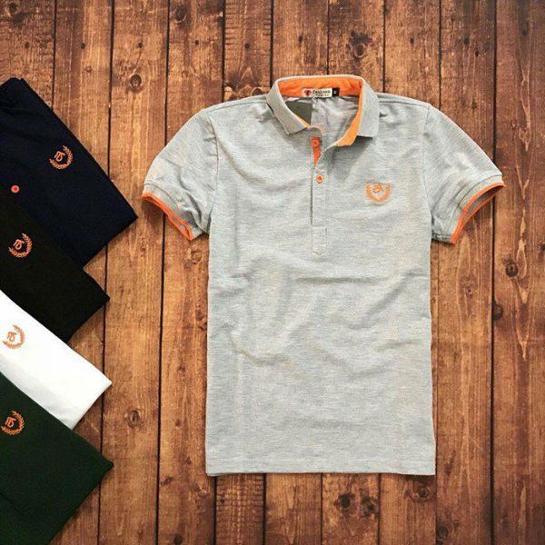 Sỉ sll áo thun nam trung niên viền cam với biểu tượng bông lúaxám