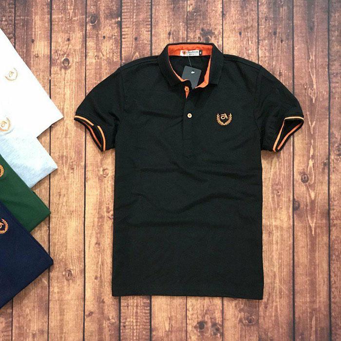 Sỉ sll áo thun nam trung niên viền cam với biểu tượng bông lúa đen 1