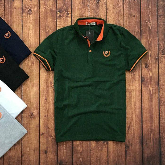 Sỉ sll áo thun nam trung niên viền cam với biểu tượng bông lúa xanh lá