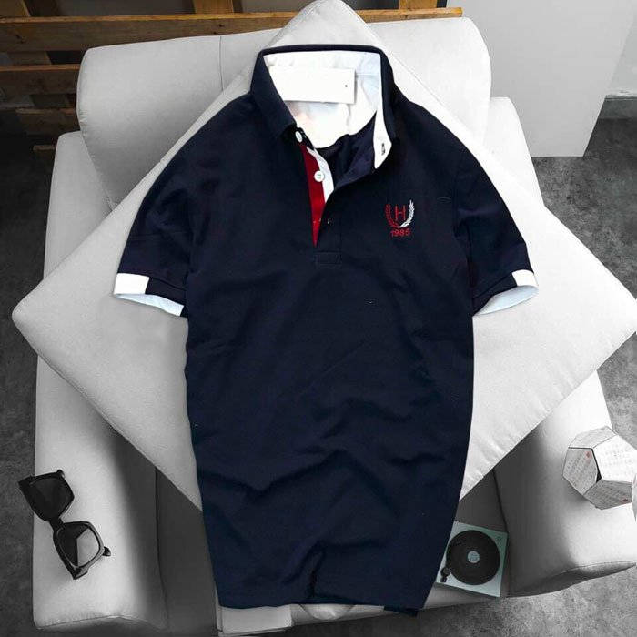 Áo thun nam logo bông lúa xanh đen