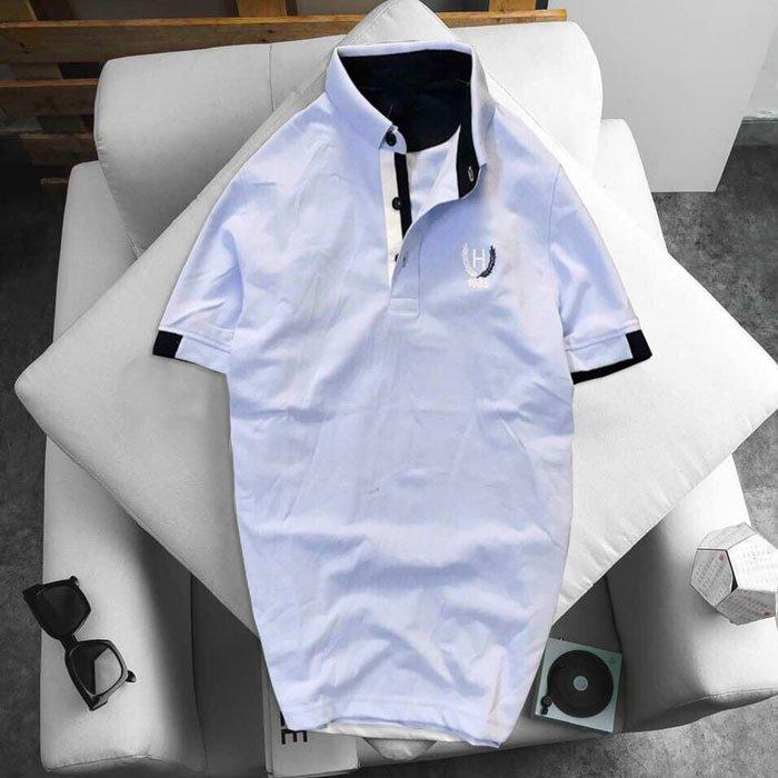 Áo thun nam logo bông lúa xanh da trời