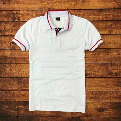 Áo thun nam viền cổ áo màu trắng