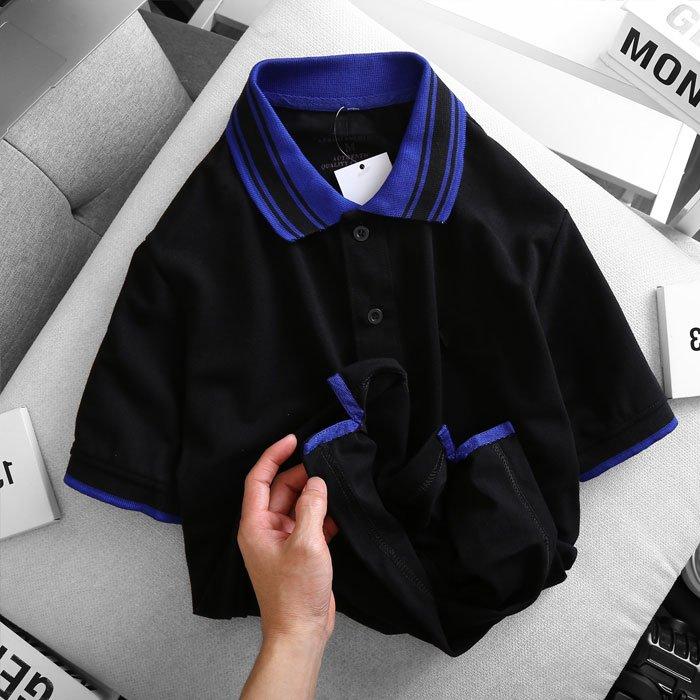 Áo thun nam cổ bẻ logo ở ngực trái phối viền ở cổ và tay áo đen 1