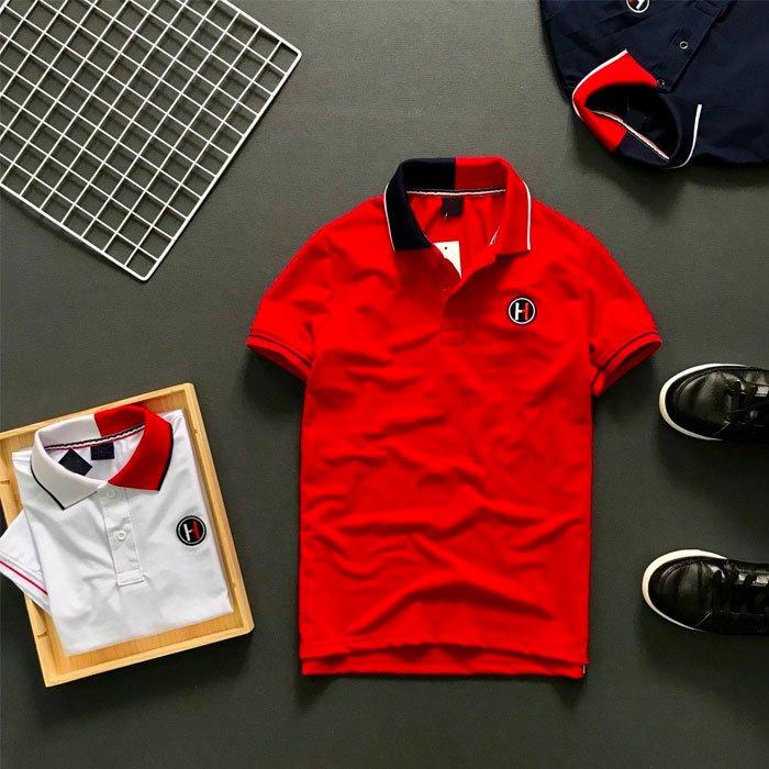 Áo thun nam trơn cổ bẻ 2 màu phối viền ở tay áo màu đỏ