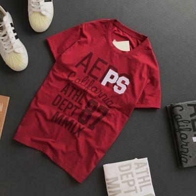 Sỉ áo thun nam cổ tròn với dòng chữ AEPS California 87 trước ngực đỏ