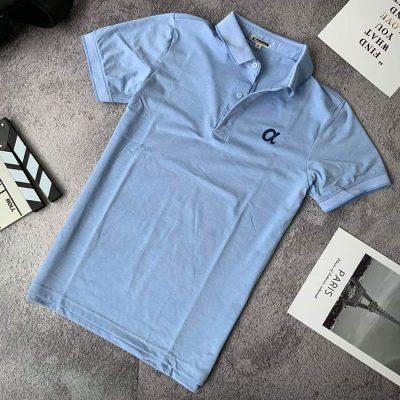 Sỉ áo thun nam trơn cổ bẻ phối viền ở cổ và tay áo với logo a cách điệu xanh biển