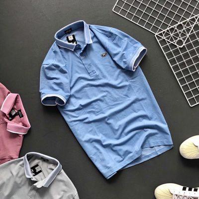 Sỉ áo thun nam trơn Formen cổ bẻ với bo viên màu ở cổ và tay áo xanh