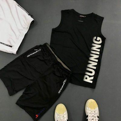 Sỉ set quần áo thể thao với áo thun ba lỗ Running áo đen quần đen