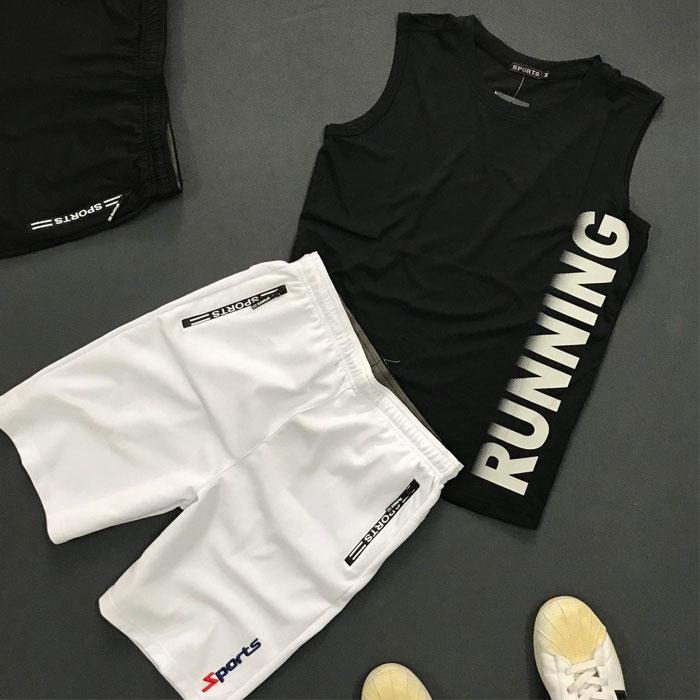 Sỉ set quần áo thể thao với áo thun ba lỗ Running áo đen quần trắng