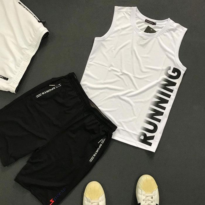 Sỉ set quần áo thể thao với áo thun ba lỗ Running áo trắng quần đen
