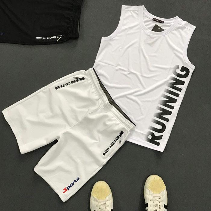 Sỉ set quần áo thể thao với áo thun ba lỗ Running áo trắng quần trắng