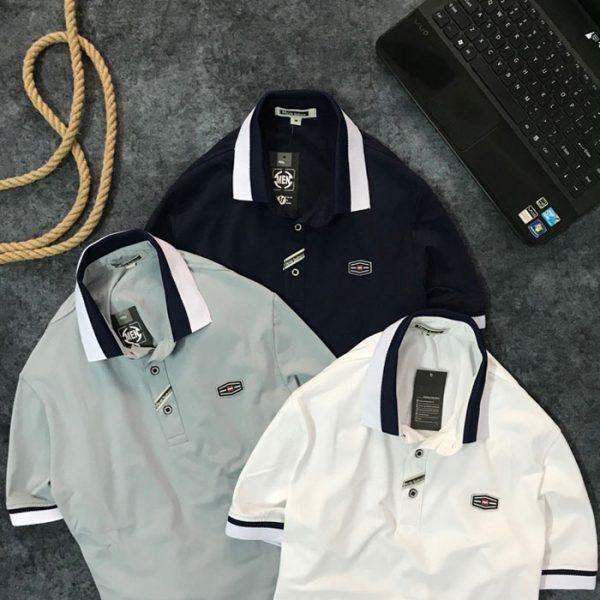 Sỉ áo thun nam trơn cổ bẻ phối viền trắng xanh đen ở cổ và tay áo