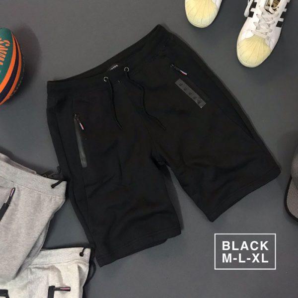 Sỉ quần short nam thun nỉ da cá 2 túi và lưng quần dây rút đen