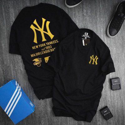 Sỉ áo thun nam cổ tròn chữ NY với họa tiết chữ sau áo đen vàng