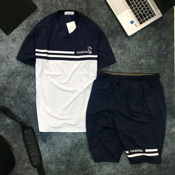 Sỉ set quần short nam với áo thun nam thể thao cổ tròn Parpa 2 đường kẻ trắng đen