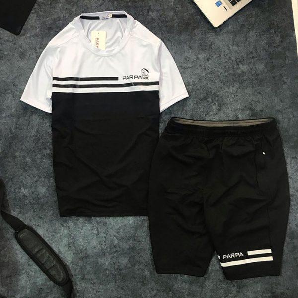 Sỉ set quần short nam với áo thun nam thể thao cổ tròn Parpa 2 đường kẻ đen đen