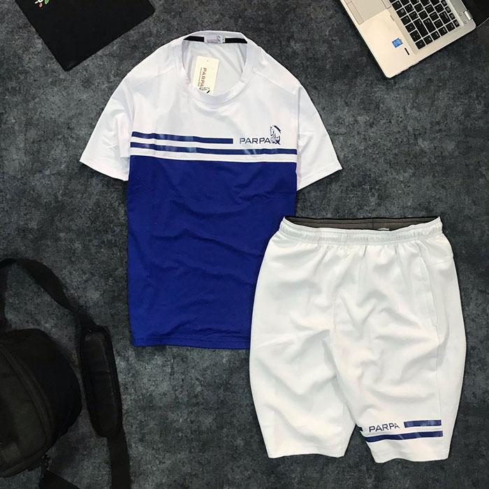 Sỉ set quần short nam với áo thun nam thể thao cổ tròn Parpa 2 đường kẻ xanh dương trắng