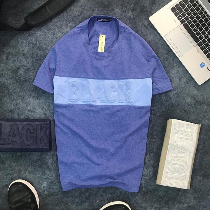 Sỉ áo thun nam cổ tròn với dòng chữ Black trước ngực xanh dương