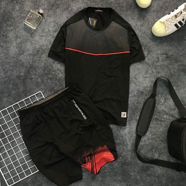 Sỉ set quần short và áo thun nam thể thao họa tiết chấm bi phối đường kẻ đỏ
