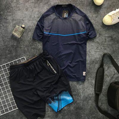 Sỉ set quần short và áo thun nam thể thao họa tiết chấm bi phối đường kẻ xanh dương