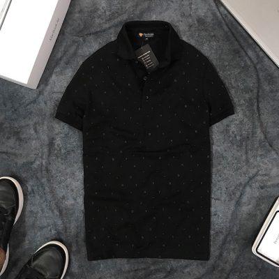 Sỉ áo thun nam cổ bẻ họa tiết chữ nhỏ đen