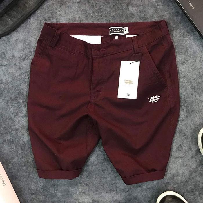 Sỉ quần short nam kaki 2 túi trước phối bo quần trẻ trung đỏ