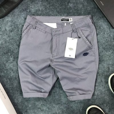 Sỉ quần short nam kaki 2 túi trước phối bo quần trẻ trung xám