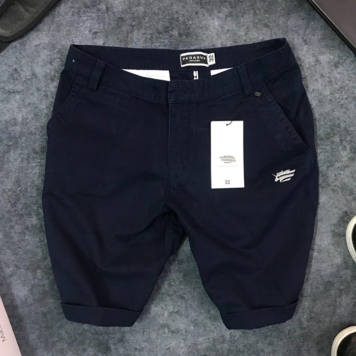 Sỉ quần short nam kaki 2 túi trước phối bo quần trẻ trung xanh đen