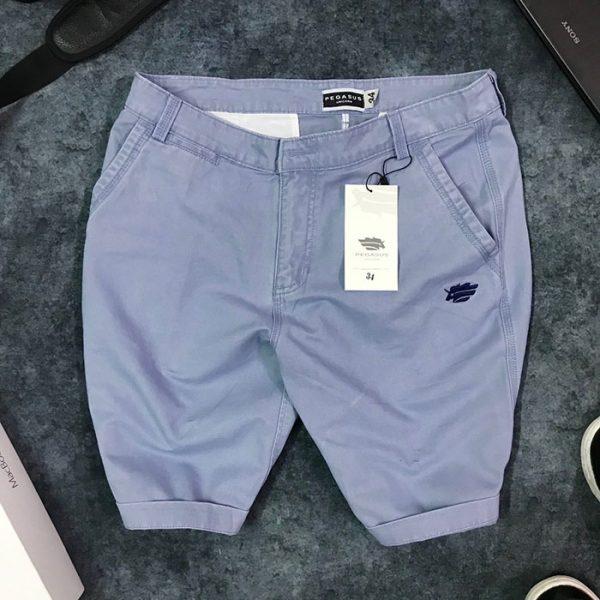 Sỉ quần short nam kaki 2 túi trước phối bo quần trẻ trung xanh tím